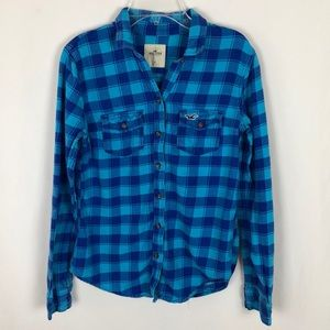 Hollister womens blue flannel